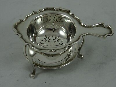 QUALITY solid silver TEA STRAINER ON STAND, 1932, 69gm