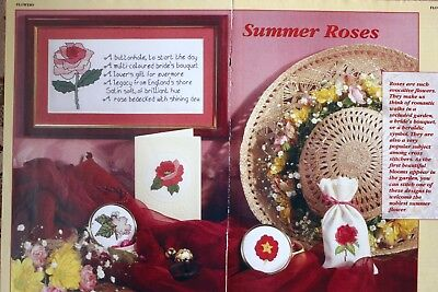 'Summer Roses' Floral Cross Stitch Chart - Make A Sampler, Gifts & Cards