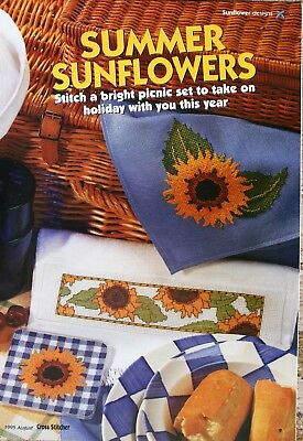 'Summer Sunflowers' Cross Stitch Chart - Towel, Napkin, Hat, Picture