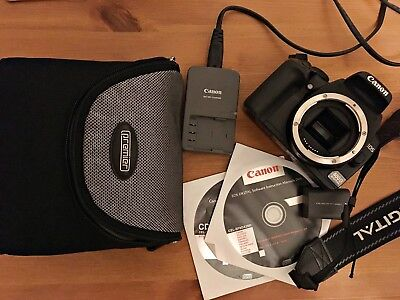 Canon EOS 400D 10.1MP Digital SLR Camera - Black (Body Only) great cond. extras