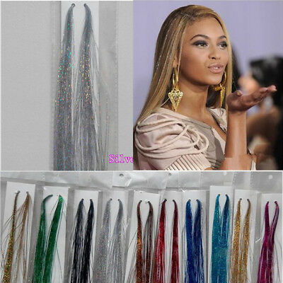 100 x Strands Holographic Sparkle Hair Tinsel / Extensions / Dazzles