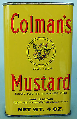 Vintage Colman's Mustard Tin Can 4oz - NICE! - Made in Britain!