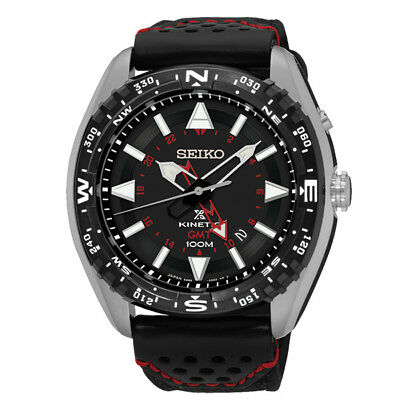 Seiko Prospex Kinetic LAND SUN049P2 GMT 100M black leather automatic men's watch
