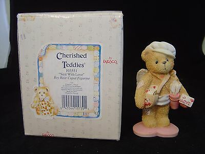 Enesco Cherished Teddies Sent With Love Boy Bear Cupid Figurine Hillman With Box