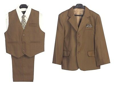 Boys Suit Brown Striped Little Toddler Kids 5 Piece Set Formal Party Clothes