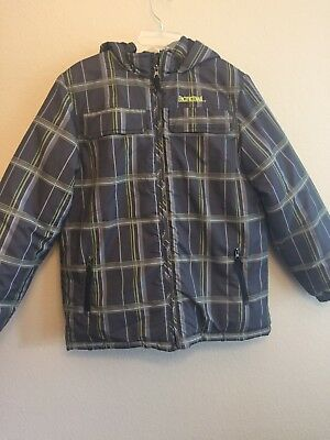 Youth Large 14/16 Plaid Jacket Hooded Coat Pacific Trail Gray Green Outerwear