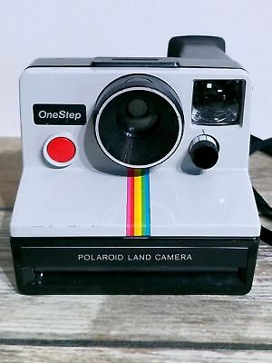 Polaroid SX-70 One Step White Rainbow Stripe Instant Land Camera With Neck Strap