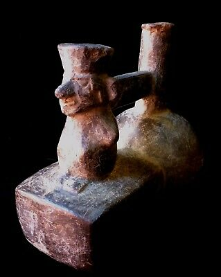 Pre-Columbian Moche Shaman double-chamber Grayware Vessel ancient Peru