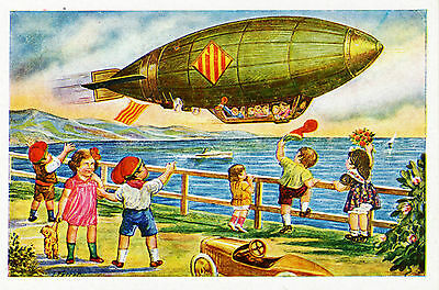 Airship Aviation ZEPPELIN Catalan Flag Kids Teddy Bear Toy POSTCARD Fine Cond!