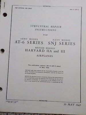 Technical Orders AT-6 Series SNJ Harvard Airplanes Aircraft Warbird Manuals Army