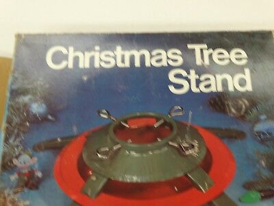 "Vintage Heavy Duty 4 Leg Metal Christmas Tree Stand Red & Green 5"" Dia Trunk"