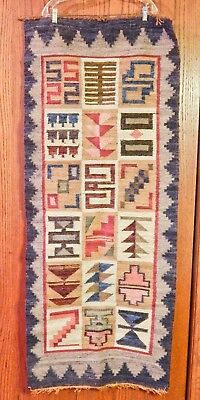 VERY OLD & UNIQUE WOVEN RUG, RUNNER-RED, BLUE, BROWN w/HAND TIED FRINGE