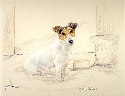 JACK RUSSELL TERRIER DOG ART LIMITED EDITION PRINT Beware of the Dog  5 Bar Gate
