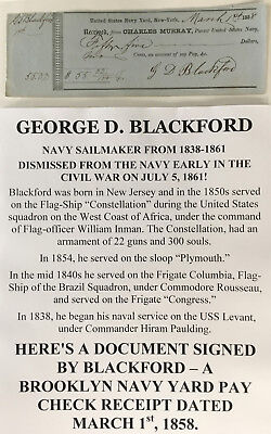 CIVIL WAR NAVY FLAG SHIP Constellation SAILMAKER DISMISSED 1861 DOCUMENT SIGNED!
