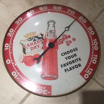 Vintage Canada Dry Choose Your Flavor Thermometer - Pam Clock Co 1958