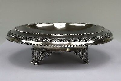Antique Russian Silver Shallow Bowl or Card Tray