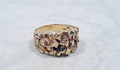 "Vintage Mens 10k Solid Gold Ring Size 9.5 with Textured ""Nugget"" Look, 6.5 grams"