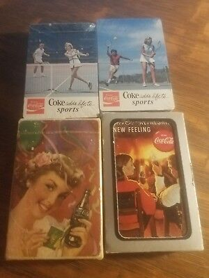 1940's/1950's 1970's Coca Cola playing cards lot of 4 decks 2 are sealed