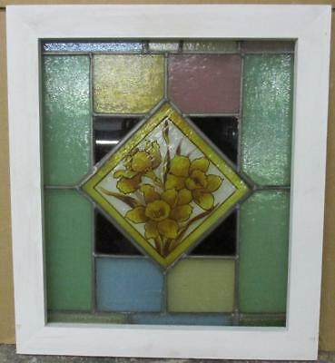 "OLD ENGLISH LEADED STAINED GLASS WINDOW Handpainted Floral 18.75"" x 21.5"""
