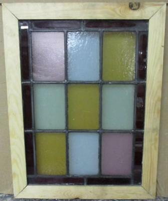 """OLD ENGLISH LEADED STAINED GLASS WINDOW Color Geometric 13.25"""" x 17.25"""""""