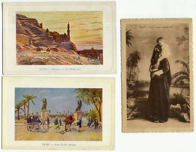 Cairo Egypt Lot of 3 Old Postcards