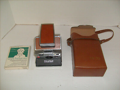 Polaroid SX-70 Folding Leather Land Camera  w/ Case   Sticky picture ejection