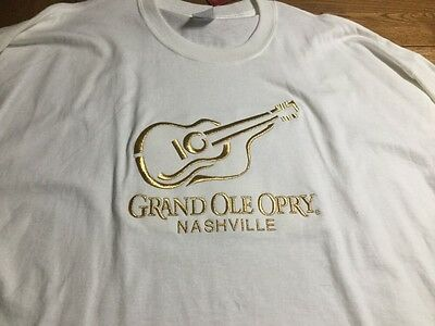 Grand Ole Opry Embroidered Shirt, White with Gold, 2 XL, NWT