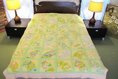 "Vintage All Cotton Machine Set, Hand Quilted FAN QUILT, Pastel Colors; 84"" x 65"""