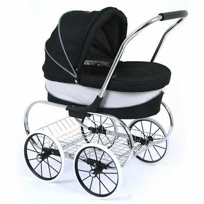 Valco Baby Just Like Mum Deluxe Princess Doll Pram Stroller - Raven