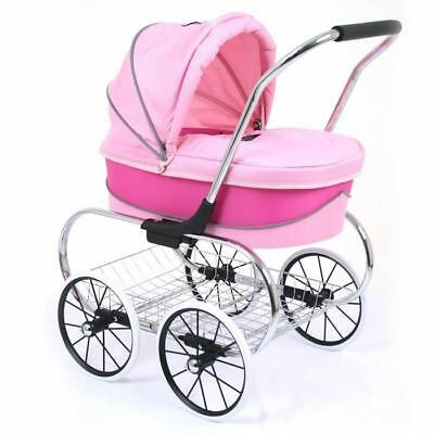 Valco Baby Just Like Mum Deluxe Princess Doll Pram Stroller - Hot Pink