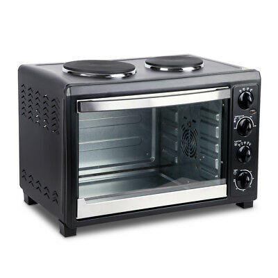 NEW 45L Capacity Kitchen Convection Oven Black with Twin Hotplates, Glass Door