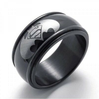 Plump Men Women Stainless Steel Titanium Band Ring Batman Logo Wedding Size 6-13
