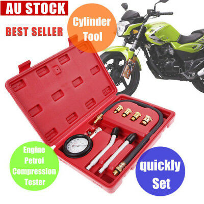 Auto Petrol Compression Tester Kit Timing Cylinder Engine Gauge Motorcycle Tool