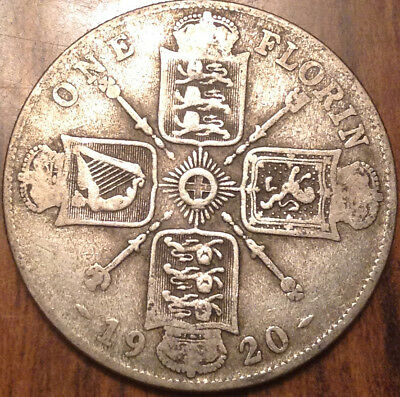 1920 Uk Gb Great Britain Florin .500 Silver