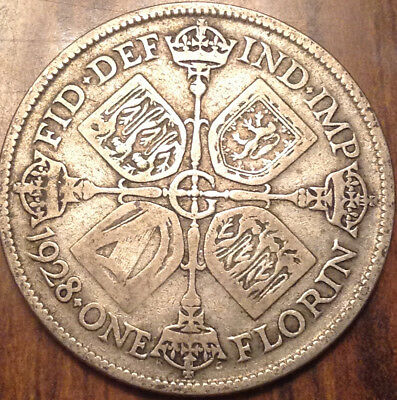 1928 Uk Gb Great Britain Florin .500 Silver