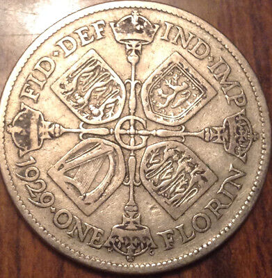 1929 Uk Gb Great Britain Florin .500 Silver