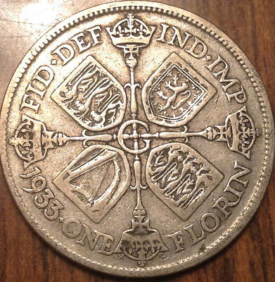 1933 Uk Gb Great Britain Florin .500 Silver