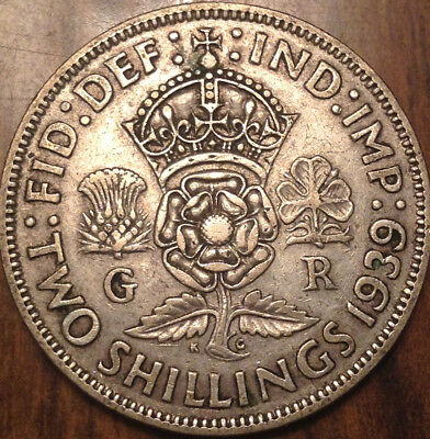 1939 Uk Gb Great Britain Two Shillings .500 Silver