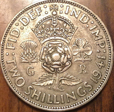 1941 Uk Gb Great Britain Two Shillings .500 Silver