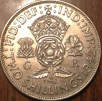 1942 Uk Gb Great Britain Two Shillings .500 Silver In High Grade