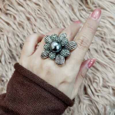 2018 Vintage Gray Big Flower Pearl Rings For Women Antique Silver Plated