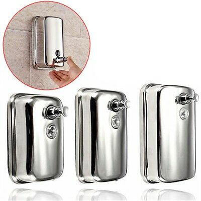 Stainless Steel Lotion Pump Soap Bathroom Home Wall Mounted Shampoo Dispenser