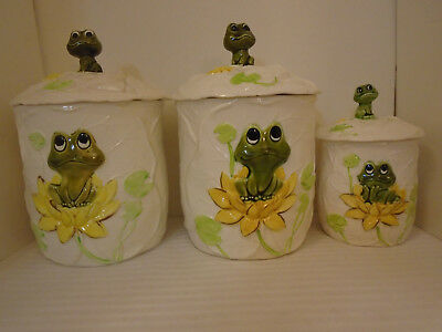 Vintage 1979 Sears Roebuck And Co. set Of 3 Porcelain Frog Canisters