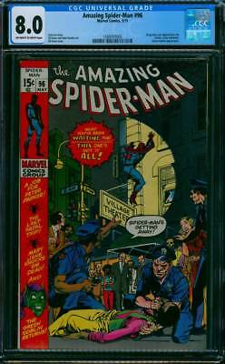 Amazing Spider-Man # 96  Non Code approved Drug issue !   CGC 8.0  scarce book !