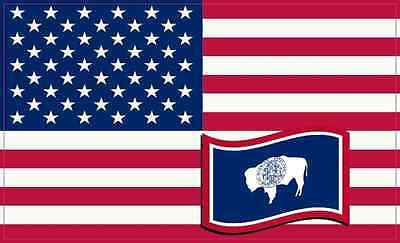 5×3 America and Wyoming Flag Magnet Vinyl Patriotic Decal Vehicle Flags Magnets