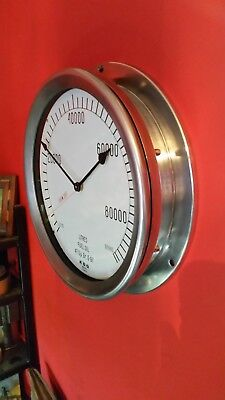 Vintage Industrial Re-Purposed Fuel Gauge Clock Stripped And Polished