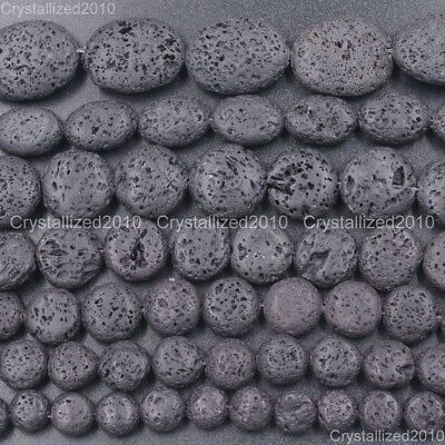 Natural Black Volcanic Lava Gemstone Round Oval Candy Beads 10mm 12mm 14mm 15''