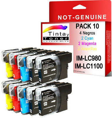 10 CARTUCHOS COMPATIBLES Non Oem BROTHER LC980 LC1100 DCP-197C DCP197C