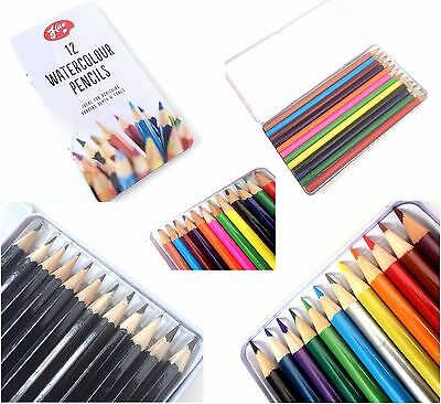 Artists Pencils Art Sketching Drawing Metallic / Graded / Water Colour In Tin