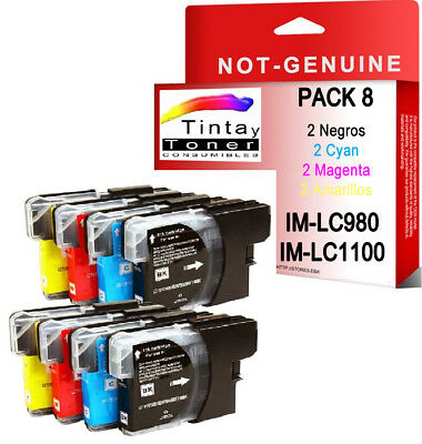 8 CARTUCHOS COMPATIBLES Non Oem BROTHER LC980 LC1100 DCP-197C DCP197C